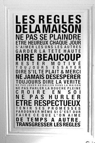 Sticker Mural Les Regles de la Maison par LaCabaneaEugene sur Etsy, €48.00