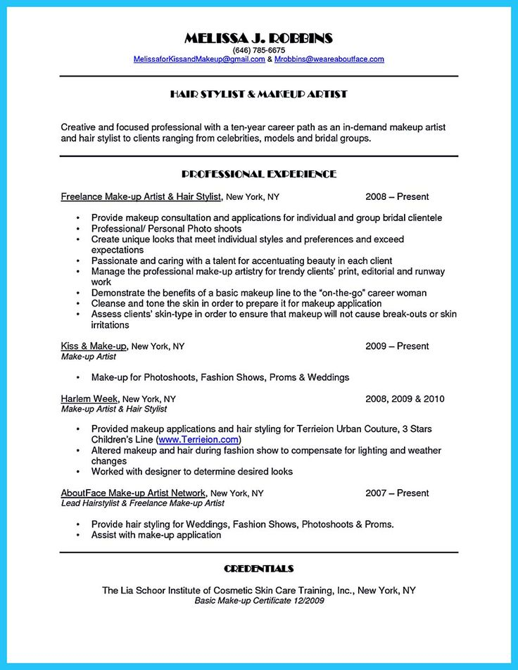 Makeup Artist Resume Sample - LimeResumes
