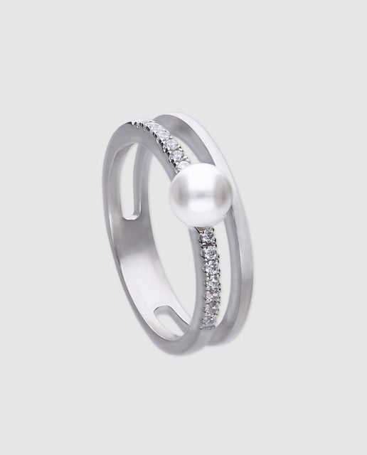 f21b1bb6cd86 Anillo en plata 925 milésimas de doble aro con pavé de circonitas y perla  blanca.