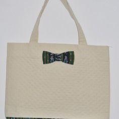 Grand sac coton matelassé style cabas noeud ikat