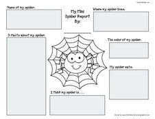 Spider activities: FREE spider printables: Practice the concepts of research and reporting with this simple graphic organizer.