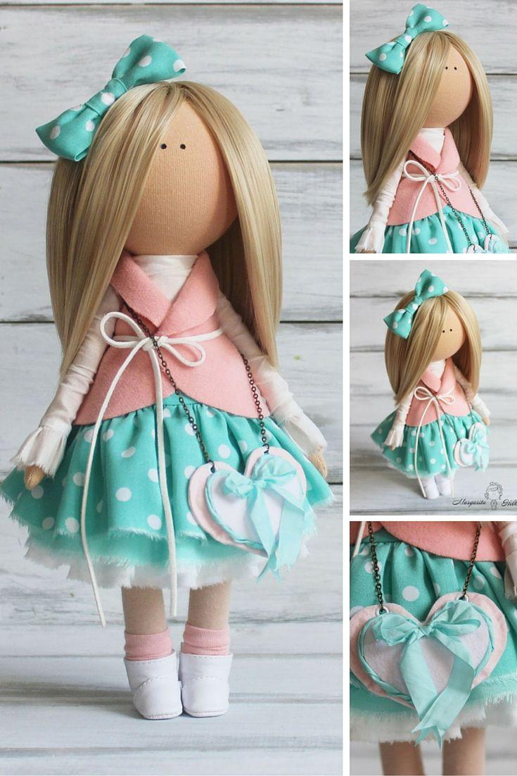 Nursery decor doll green rose blonde Fabric doll Decor doll Baby doll Cloth doll…
