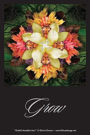 """Orchid Mandala No.1"" by Gloria Owens. Limited edition prints, cards and magnets available. #mandala, #orchid, #art"