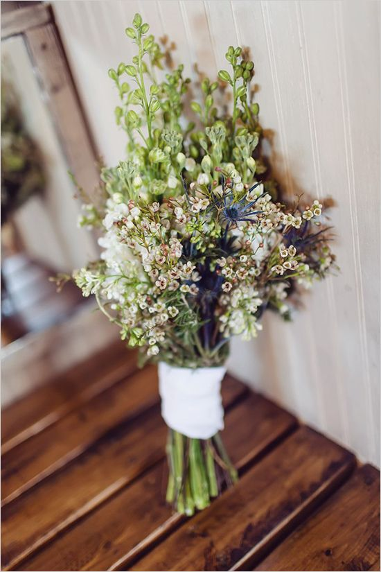 rustic green wedding bouquet- I would like these type of flowers for bottles