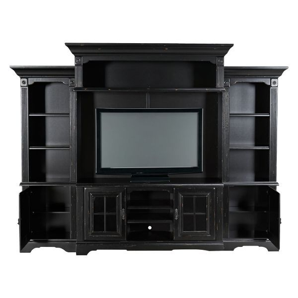 Distressed Black 5 Piece Entertainment Center