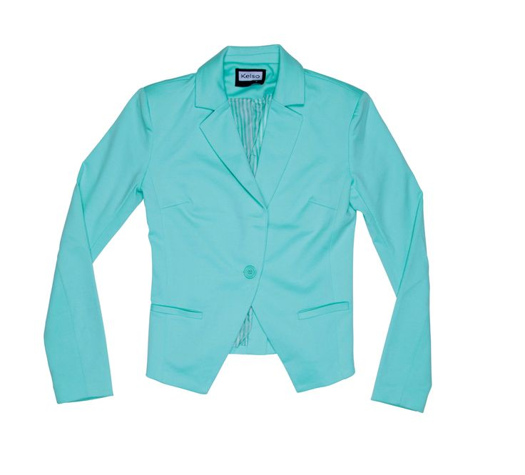 Pastel blue Kelso Blazer with an asymmetrical cut- I love the colour and cut, will look great with a nice pair of skinny jeans or straight leg trousers.#pastel #blazer