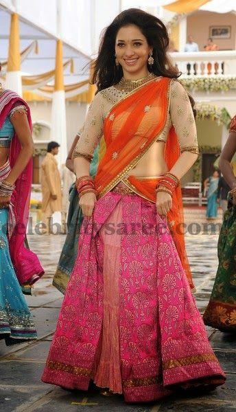 Tamanna Brocade Half Saree | Saree Blouse Patterns