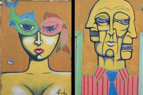 #Impulseearth #Valparaiso #Chile #Graffiti #Street Art #Faces #Painting #Creativity #Yellow #Brown #Fish #Double Face #Portrait