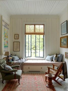 Build low bed under window to mimic window seat. Could make a very small room more functional and appear larger.