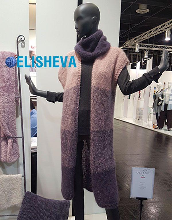 Длинный кардиган-жилет с градиентом из мохера: описание вязания | Блог elisheva.ru