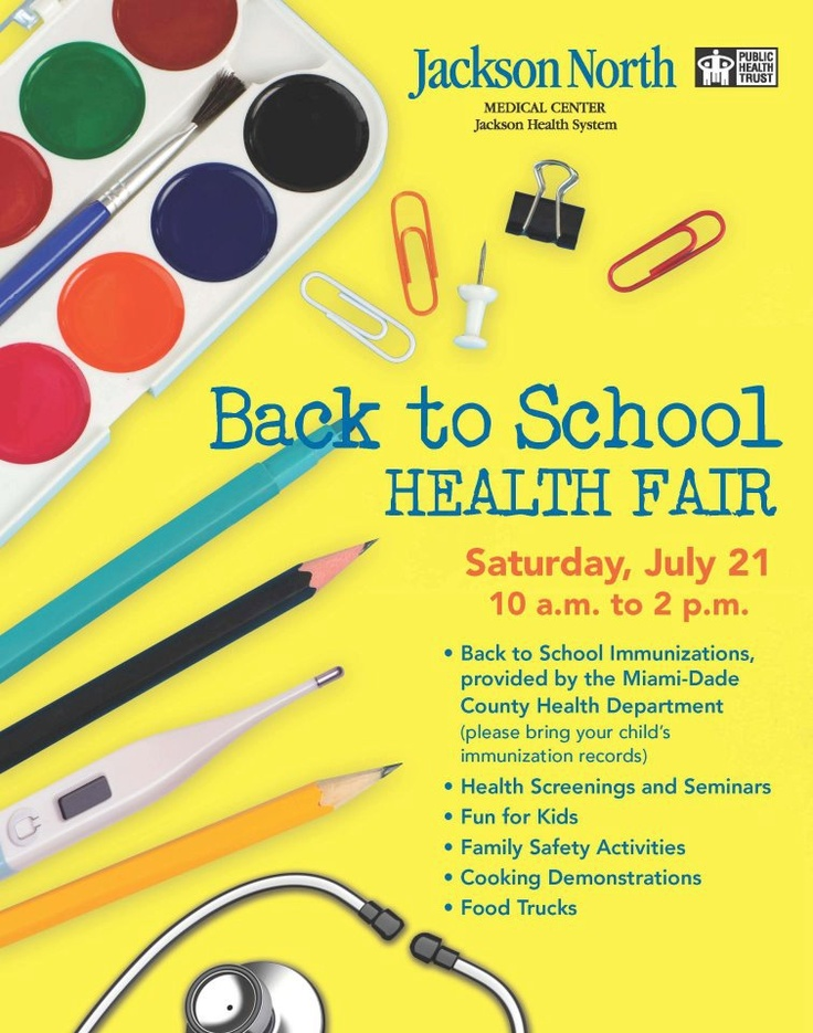 Event alert: FREE health screenings, seminars, children's activities, back-to-school immunizations and more at the Back to School Health Fair on Saturday, July 21.