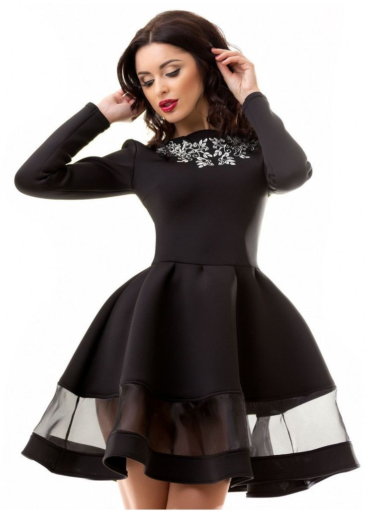 Платье с сеткой из неопрена