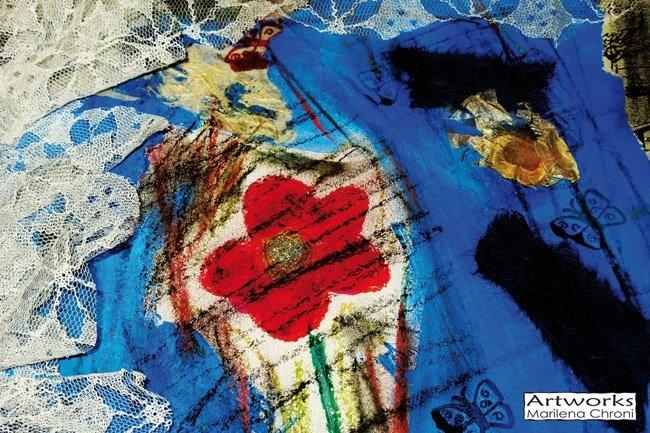 Print of original mixed media art 10x15 cm