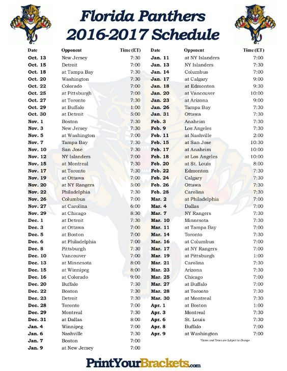 Florida Panthers 2016-2017 Schedule.