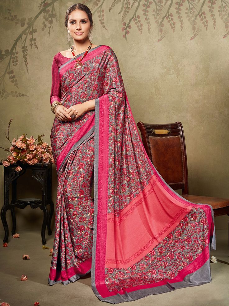 Grey And Magenta Printed Crepe Saree