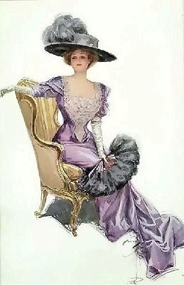 Victorian Lady On Gold Chair~counted cross stitch pattern #1601~Vintage Chart