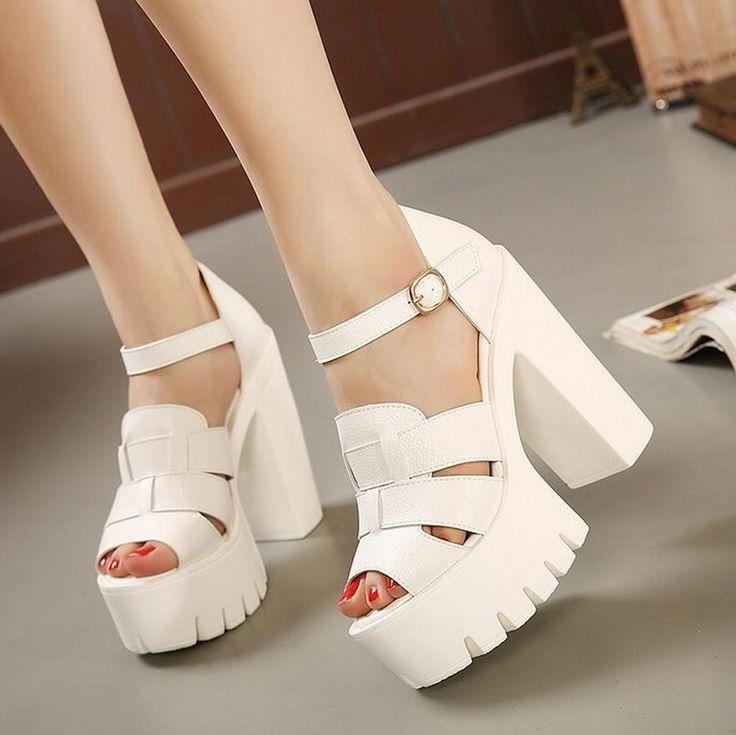 33.99$  Watch now - https://alitems.com/g/1e8d114494b01f4c715516525dc3e8/?i=5&ulp=https%3A%2F%2Fwww.aliexpress.com%2Fitem%2FSummer-Women-s-Shoes-2016-new-wedges-platform-sandals-women-Black-and-White-open-toe-high%2F32596219368.html - Summer Women's Shoes 2016 new wedges platform sandals women Black and White open toe high heels female shoes