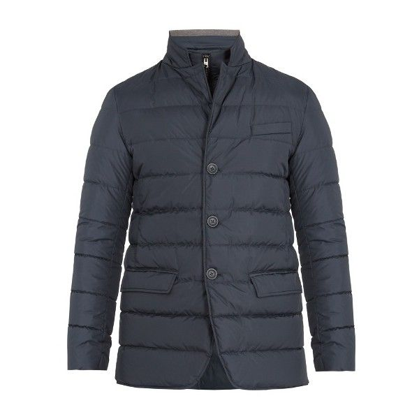 Herno Detachable-placket padded down coat (29.300 RUB) ❤ liked on Polyvore featuring men's fashion, men's clothing, men's outerwear, men's coats, blue, mens blue sport coat, mens padded coat and mens fur collar coat