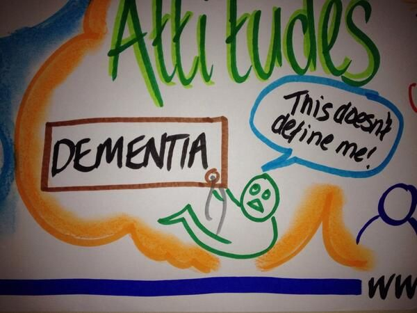 """""""Dementia does not define me."""" Powerful image by my talented friend and colleague Anna Geyer at our Commissioning for Dementia - Getting It Right"""" workshop. In partnership with Skills for Health, My Health Skills, 30 January 2014., Birmingham."""
