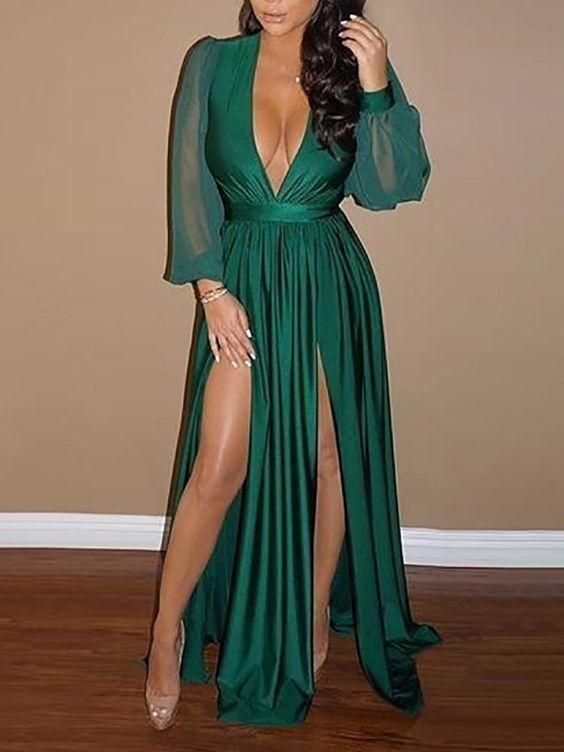 Boho Prom Dress, Pleated Slit Evening Dress Long Sleeve Prom Dresses For Party, Long Formal Dress