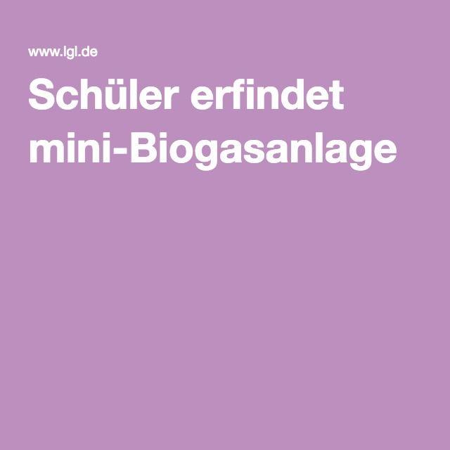 Schüler erfindet mini-Biogasanlage