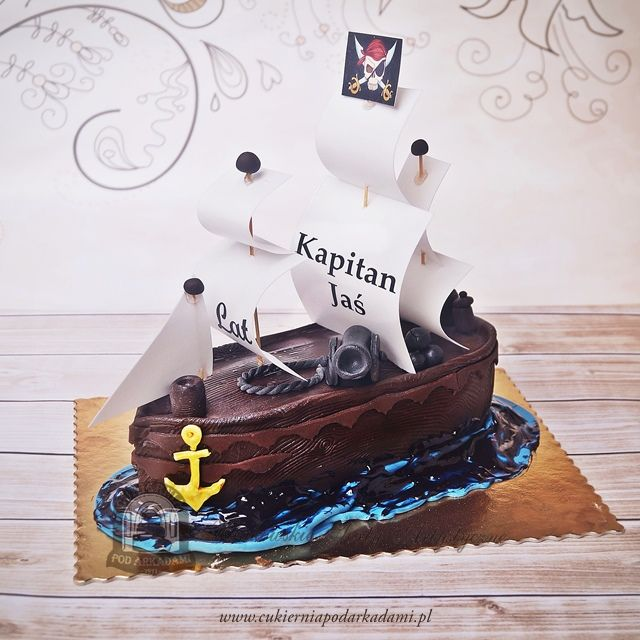 81BA. Tort okręt piracki. Pirate sailing ship cake