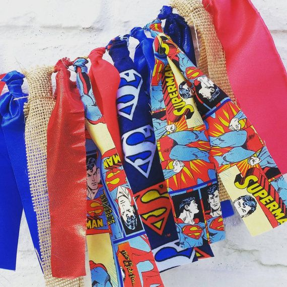 Superman fabric garland Superman party decor by EclecticSoirees