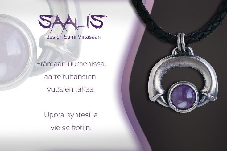 Amethyst jewelry, Saalis - silver pendant. Design Sami Viitasaari