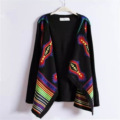 Women Tops Fashion Long Cardigan Female Stylish Collarless Long Sleeve Cardigan Tribal Print Asymmetrical Cardigan Women