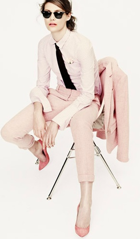 Boy Meets Girl... stylish masculine tailoring in feminine shades of pink; girly vs boyish fashion