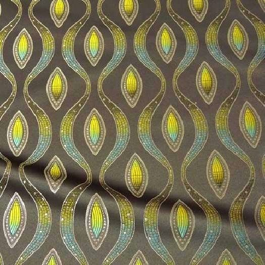 Eden Prairie - an electric pattern with citron green and teal accents on a taupe field. Contact Total Table for sizes and pricing.