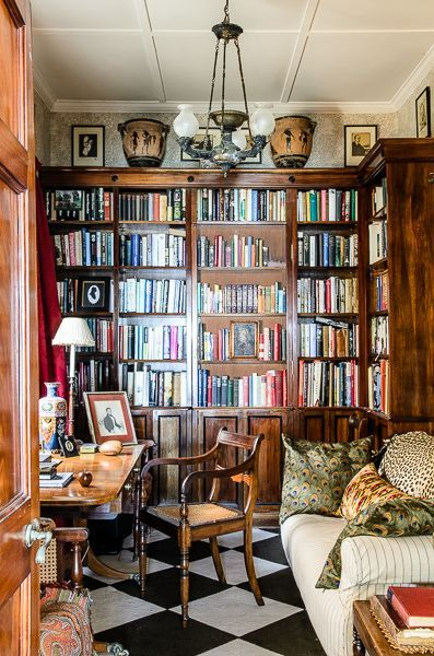 """sweetestesthome: """"  Room of the Day ~ small and stylish library & office """""""