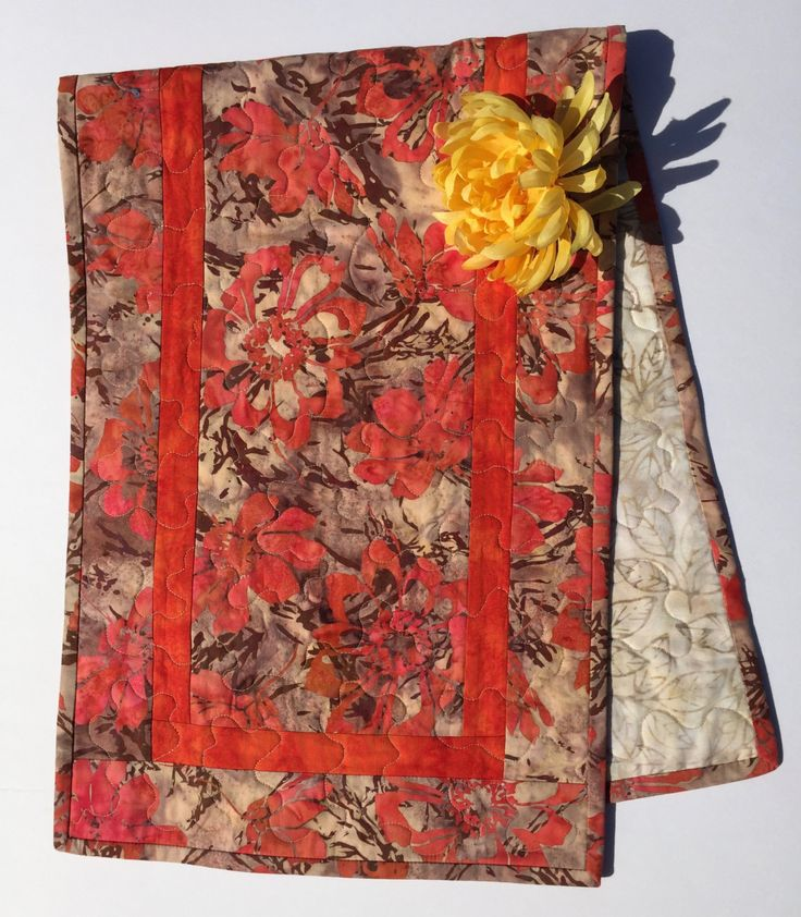 Fall Quilted Table Runner In Orange And Beige Autumn Cloth Topper