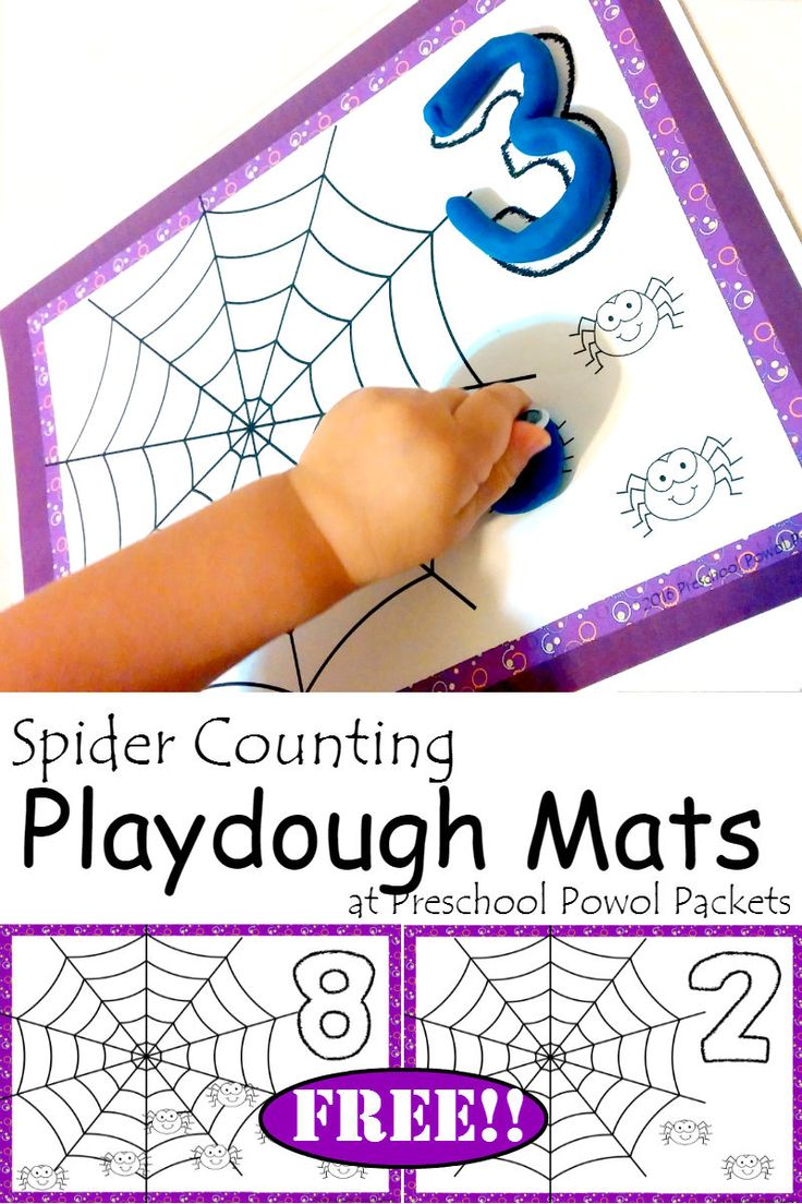 Check out this {FREE} spider counting playdough mat set! Perfect for preschool!
