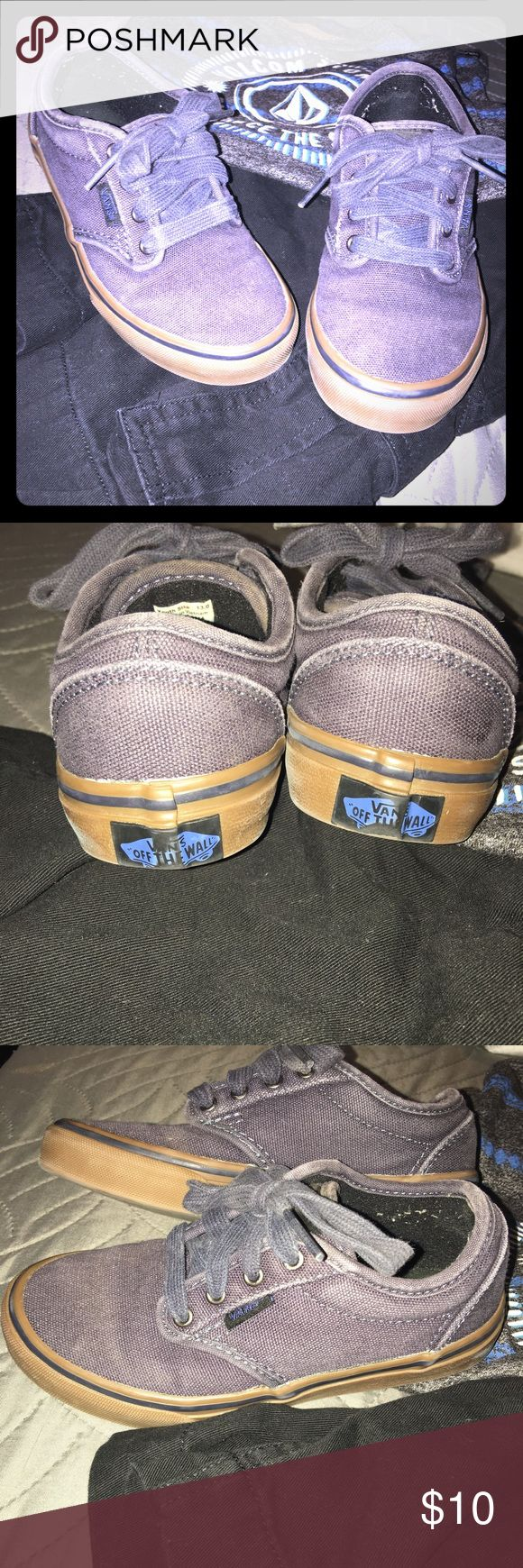 Little Boys Vans Used condition but still have a lot of life left in them. Unfortunately my son outgrew them to fast. Blue-Gray with gum sole. Vans Shoes Sneakers