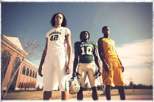 Brittney Griner, Women's Basketball phenom, Heisman winner Robert Griffin III, and Men's Basketball powerhouse Perry Jones III.   Sic 'Em, Dream Team!