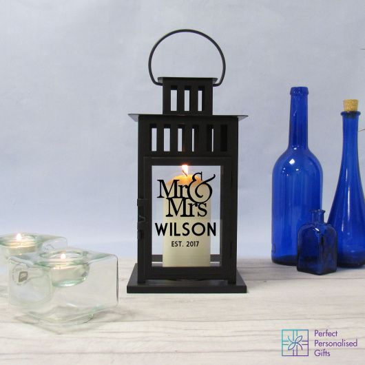 Mr & Mrs Lantern.  Beautiful antique effect lantern available in black or white. These look beautiful in a hallway, living room or even outside on a patio or balcony.    These are lovely gifts for a newlywed couple. They are also versatile as they can be used inside or out. Great for an evening BBQ or glass of vino in the garden. They also look lovely filled with fairy lights as opposed to a candle. Stunning at Christmas time!