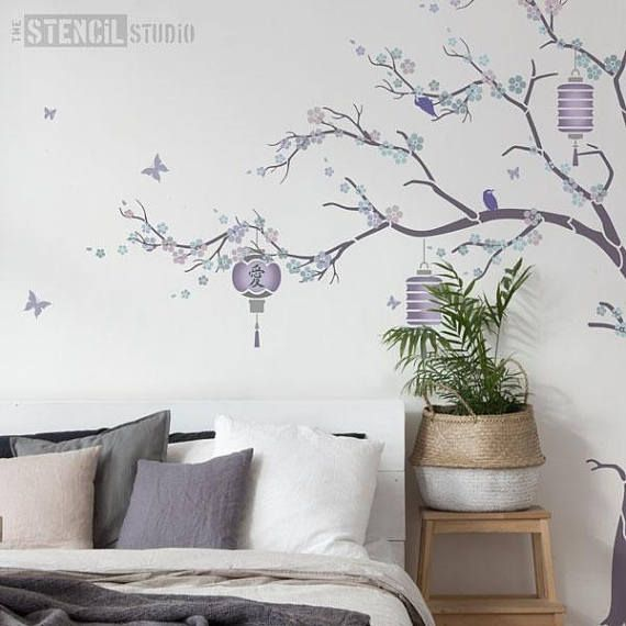 Beautiful Japanese Cherry Blossom (Sukura) Tree Stencil Pack including all the wall stencils you need to create a rounded tree or a windswept tree wall mural for a bedroom or living room wall. Youll receive: Large tree stencil (3 stencil sheets) Trunk and Branch extension stencils