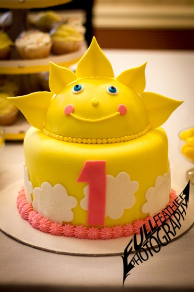 """This gorgeous sunshine cake was made for my daughter's 1st birthday party. The theme was """"You Are My Sunshine."""" Like our work? Please """"like"""" our page to receive the latest updates & offers."""