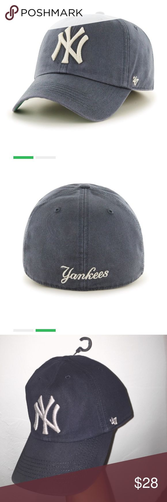 New York Yankees Fitted Baseball Cap Colour is NAVY with GRAY logo. Genuine '47 brand New York Yankees franchise. Size: 7 1/4 (58cm) LARGE. Hat is brand new never worn but like most other things in my closet I have a habit of removing tags so NWOT. Retails $35 47 Accessories Hats