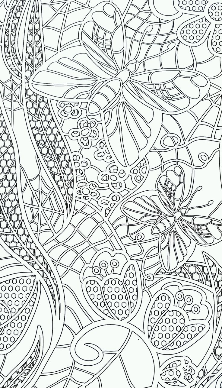The coloring book of cards and envelopes flowers and butterflies - Butterfly Abstract Coloring Page