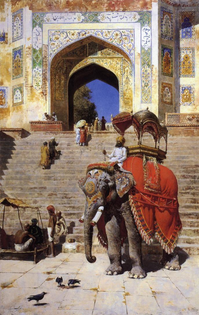 Royal Elephant at the Gateway to the Jami Masjid, Mathura, India (Edwin Lord Weeks)
