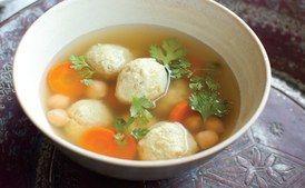 "Persian ""Matzo Balls"" with Chickpeas and Chicken (Gondi)"