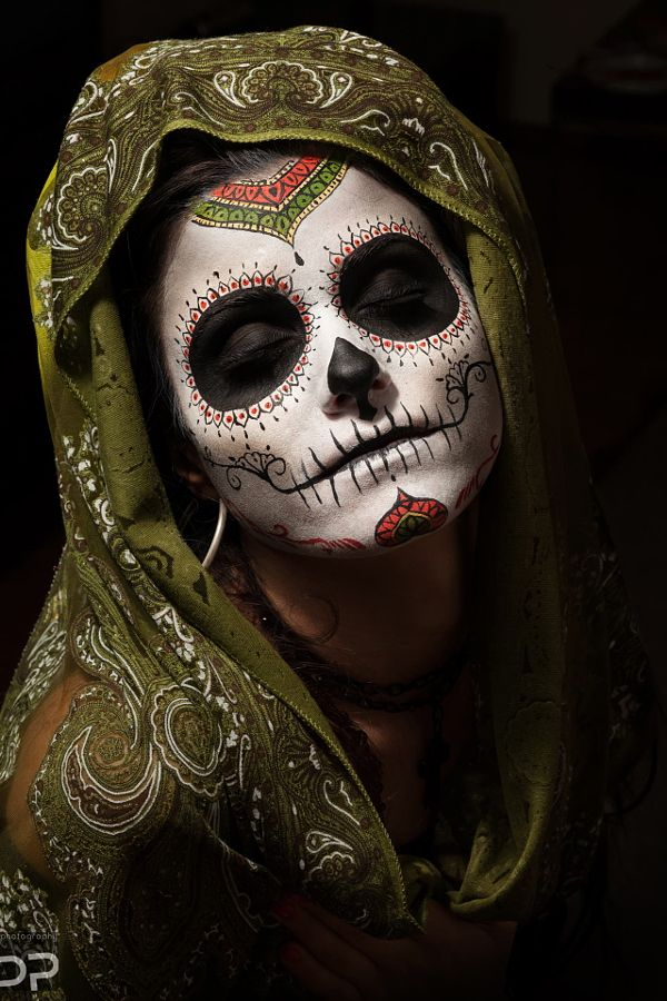 orange and green sugar skull day of the dead makeup in. Black Bedroom Furniture Sets. Home Design Ideas