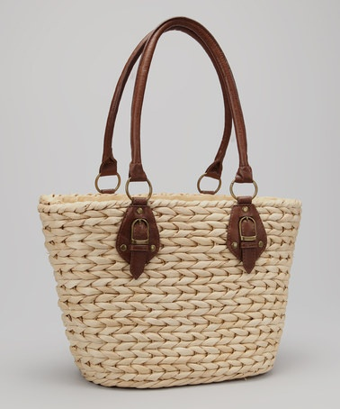 Take a look at this Straw Studios Natural & Dark Brown Woven Straw Tote by Spring Preview: Women's Accessories on @zulily today!