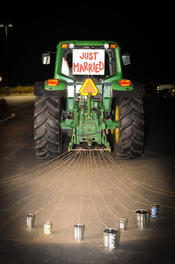 Great idea if you are a farmer or John Deere fan.  Unique wedding. @Makayla Jennings Northrup, I'm thinking AJ would LOVE this:)