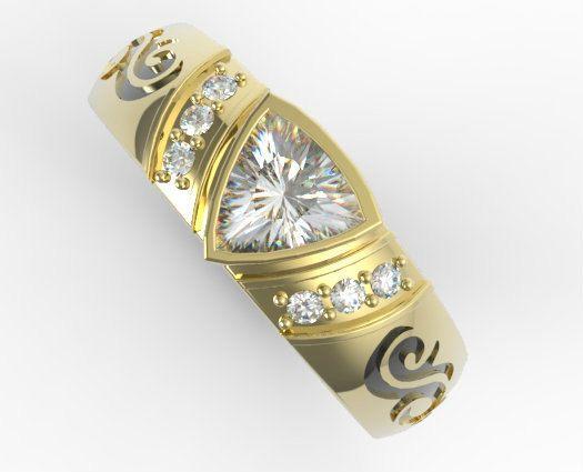Única banda de boda anillo de boda para hombre por Vidarjewelry