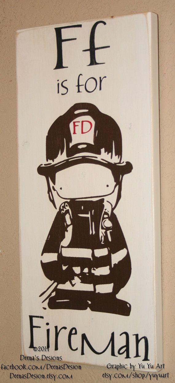 Firefighter Nursery Decorby DeenasDesign - https://www.facebook.com/DeenasDesign - $34.00