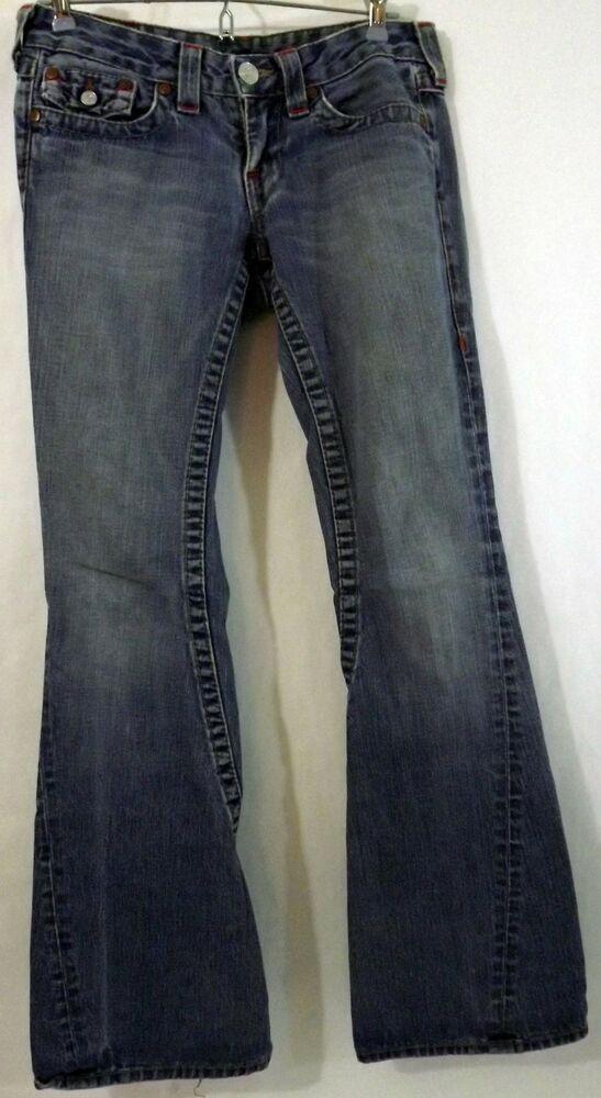 00dcec662 EUC TRUE RELIGION JOEY Women s Jeans Size 27 (30x33) Flare Leg World Tour  USA