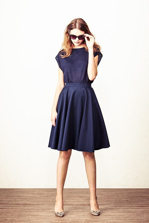 Simple, classic dress for work. I'd add a colorful belt and shoes. Spick and Span Noble